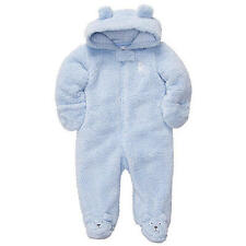 NWT Carter's Baby Boys Blue Bear Hooded Velboa Pram Sherpa 6 months fuzzy