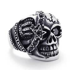 Men's Silver Black Gothic Skull Cubic Zirconia Stainless Steel Biker Ring