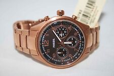 Fossil Ladies Watch CH2793 Chronograph ROSE GOLD Stainless CHOCOLATE DIAL $135