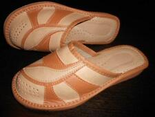 Ladies Womens Real Natural Leather Slippers Shoes Sandal Tan Made In Poland Soft