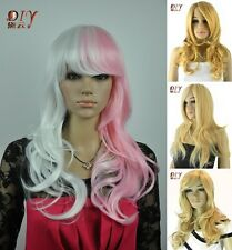 Diy-wig Stylish Women Long Wig Wavy Bangs Daily Cosplay Synthetic Hair Full Wig