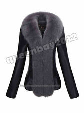 Fashion 100% Real Sheep Leather Jacket Fox Fur Trim Coat DownCoat Outwear Warm
