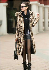 HOT! women's Luxury Camouflage Full Length Parka Hooded Long Down Jacket Coat