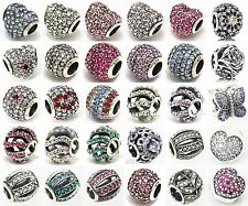 Threaded 925 Sterling Silver Hot Pave CZ Crystal European Breacelet Charm Bead