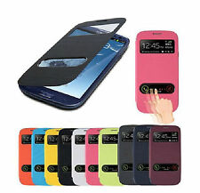 Slim Dual S View Window Flip PU Leather case cover For All Samsung Galaxy Phone