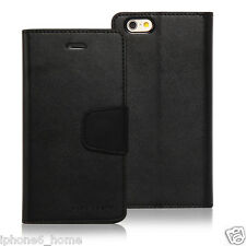 Genuine Goospery Black Leather Wallet Case Cover for Apple iPhone 6 & 6 Plus