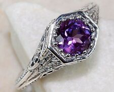 1CT COLOR CHANGE ALEXANDRITE .925 SOLID STERLING SILVER FILIGREE ART DECO RING