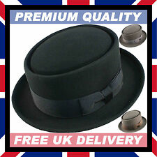 HAND MADE PORK PIE HAT 100% WOOL Felt Satin Trilby • Breaking Bad • Party Event