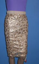 Womens definitions embellished knee length lined beige/gold partypencil skirt