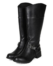 Soda Luxury New Women Leatherette Metal Strap O Ring Mid Calf Riding Boot