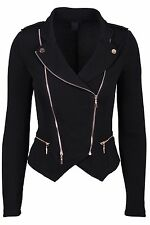 New Women's Fashion Outerwear Casual Gold Zipper Layer Zip Up Crepe Moto Jacket