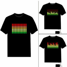 New Black Fashion T-Shirt Light up Music T-Shirt Sound Activated LED EL Unisex