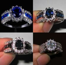Sz 6-11 Deluxe Jewelry Ladys Sapphire Tanzanite 10KT White Gold Filled Ring Gift