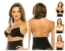 DEEP CLEAVAGE CLEAR BACK INVISIBLE STRAPS FRONT CLOSE PUSH UP BRA 32-38 A B C