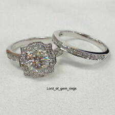 Wedding Ring Sets!7mm Round Cut Moissanite Engagement Ring,in 14K White Gold