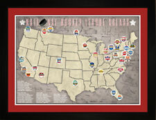 NHL National Hockey League Teams Arena Stadium Tracking Location Map Print THCKY