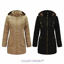 Womens New Ladies Winter Warm Hooded Coat Puffer Padded Quilted Jacket 10-20