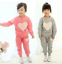 Popular Cute Kids Toddler Heart Clothes Girls Baby Tops+Trousers Suit Sz12M-5Y