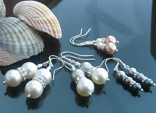 Pearl Creamrose Gold and Silver 925 Silver Earrings made with Swarovski Elements