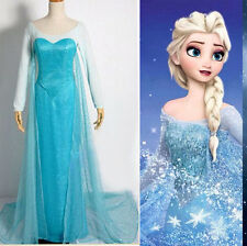 CX30 Fashion Halloween Women Frozen Elsa Fancy Dress Adult Costumes Gown Dress