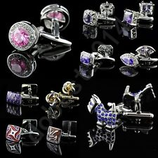 Lot High Quality Stainless Steel Crystal Wedding Party Gift Mens Cufflinks