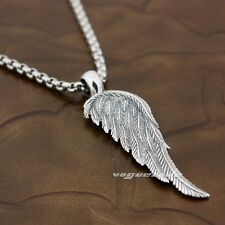 Angel Bird Wing Feather 2-Side Solid 925 Sterling Silver Fashion Pendant 8X018A
