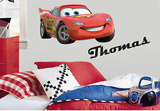 LIGHTNING MCQUEEN & PERSONALISED NAME DISNEY CARS PRINTED WALL STICKER DECAL