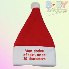 Your Choice of Words - Personalised Embroidered Santa Baby Hat Baby Gift