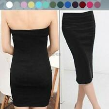 Womens Girl's Sexy Bodycon Strapless Cocktail Party Dress Mini Tube Skinny Skirt
