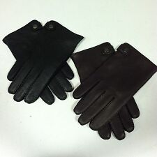 COACH Men's Cashmere Lined Soft Deerskin Leather Gloves M L XL Black Brown Snap