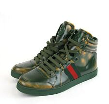 $650 New Authentic Gucci Mens Brush Calf Coda High-top Wen Sneakers, 343093 7881