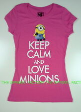 NEW Despicable Me 2 Keep Clam and Love Minions Pink Junior T Shirt SALE!!!!