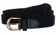 New Women's Braided Elastic Stretch Belt with Gold Tone Buckle