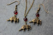 Armadillo & red hearts necklace and earring set- antiqued bronze brass - animals