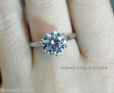 3 CT ROUND BRILLIANT CUT DIAMOND SOLITAIRE ENGAGEMENT RING SOLID 14K WHITE GOLD