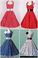 Vintage 1950s 60s Swing Rockabilly Polka Dot Pinup Evening Prom Party Dress N77