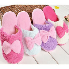 2014 Cute velvet Women Lady Anti slip bowknot Slippers Indoor House Soft Warm 5