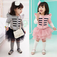 girl stripe sets children clothing set baby jacket&skirt outfits