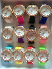 Girl/Lady Hello kitty Colorful Golden Crystal Stone Jelly Quartz Wrist Watch New
