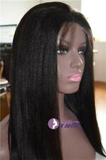 "Woman Wig Kinky Straight 12""-24"" Real Indian Remy Human Hair Lace Full/Front Wig"