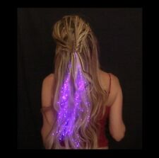 LED Hair Extensions Girls Xmas Party Bag Clip Pony Tail Fibre Optic Colour Light