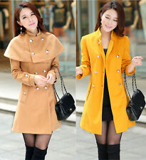 Womens Fashion Poncho & Cape Double-breasted Woolen Outwear Long Coat 4 Color