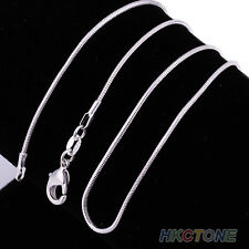 Unisex Chic Silver Plated 1mm Snake Chain Necklace