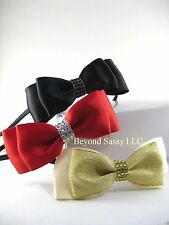 Teen Ladies Christmas Satin Layer Rhinestone Hair Bow Tie Skinny Metal Headband