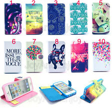 Stylish Color Hybrid Pattern Flip Leather Wallet Case Stand Cover For Cell Phone