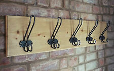 Vintage Style Coat Rack Wire School Hooks Antique Pine Handmade