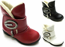 GIRLS INFANT BOOTS WINTER FUR LINED DIAMANTE VELCRO ANKLE BOOTS UK 8-11 #F1
