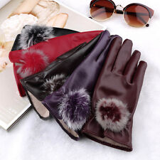 Women PU Simulated Leather Fur Warm Winter Finger Gloves Mittens Soft Lined DX