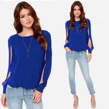 Plus Size Sexy Long Sleeve Chiffon Crewneck Blouse Women Casual Loose Shirt Tops