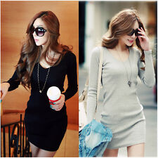 Fashion Women Long Sleeve V-Neck Casual Slim Party Winter Sweater Knit Dress